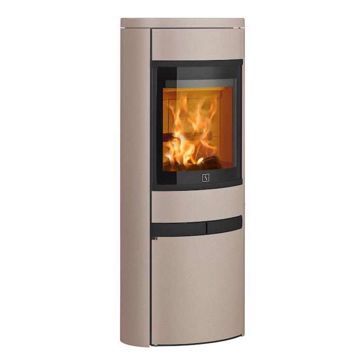 Scan 68 Cupboard Wood Stove Champagne Solid Sides Black Trim - Champagne