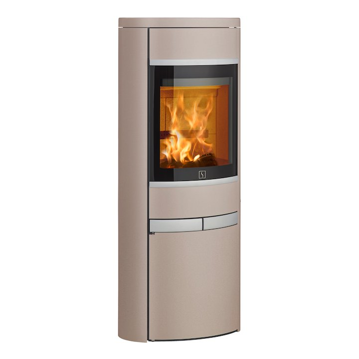 Scan 68 Cupboard Wood Stove Champagne Solid Sides Silver Trim - Champagne