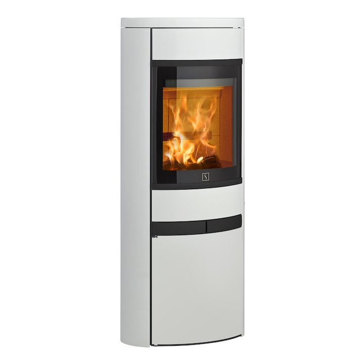 Scan 68 Cupboard Wood Stove White Solid Sides Black Trim - White