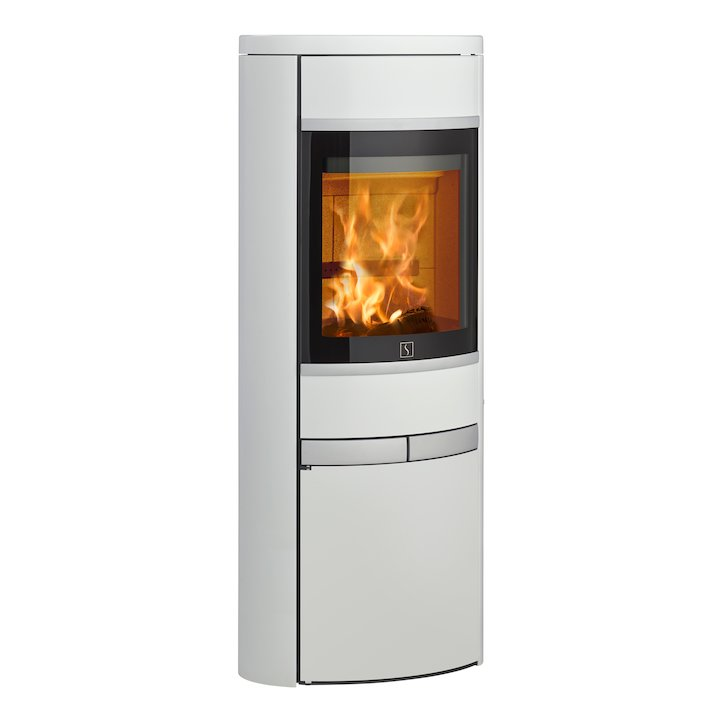 Scan 68 Cupboard Wood Stove White Solid Sides Silver Trim - White