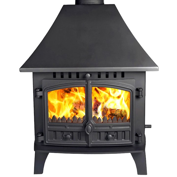 Hunter Herald 14 Double Sided HC Multifuel Stove - Double Depth Black Double Doors - Black