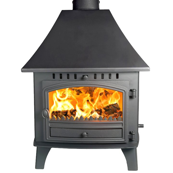 Hunter Herald 14 Double Sided HC Multifuel Stove - Double Depth Black Single Door - Black