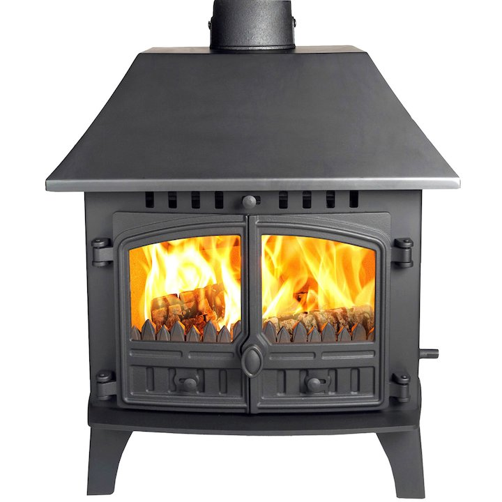 Hunter Herald 14 Double Sided LC Multifuel Stove - Double Depth Black Double Doors - Black