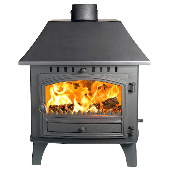 Hunter Herald 14 Double Sided LC Wood Stove - Double Depth Black Single Door - Black