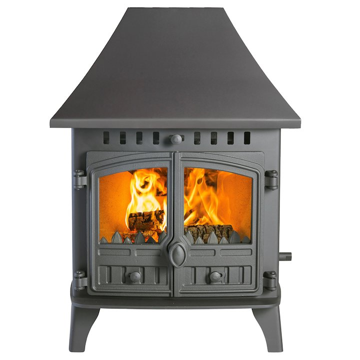 Hunter Herald 6 Double Sided HC Multifuel Stove - Double Depth Black Double Doors - Black