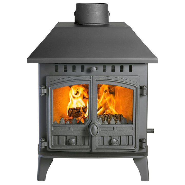 Hunter Herald 6 Double Sided LC Multifuel Stove - Double Depth Black Double Doors - Black