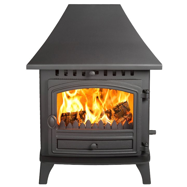 Hunter Herald 6 Double Sided HC Wood Stove - Double Depth Black Single Door - Black