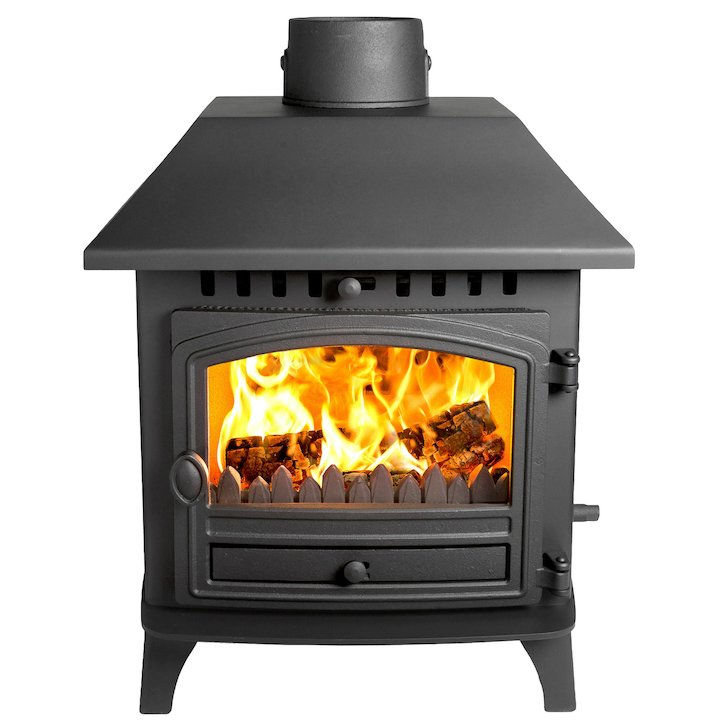 Hunter Herald 6 Double Sided LC Wood Stove - Double Depth Black Single Door - Black