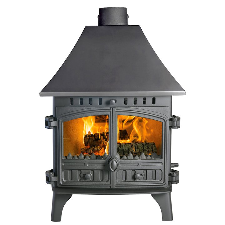Hunter Herald 8 Double Sided HC Multifuel Stove - Double Depth Black Double Doors - Black