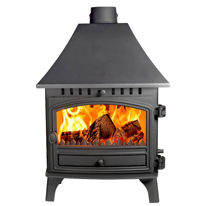 Hunter Herald 8 Double Sided HC Multifuel Stove - Double Depth Black Single Door - Black