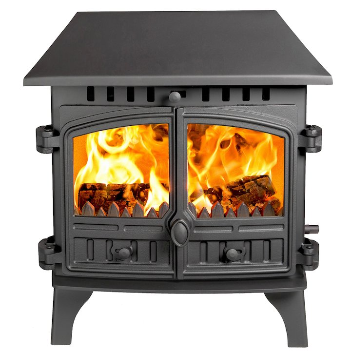 Hunter Herald 8 Double Sided LC Multifuel Stove - Double Depth Black Double Doors - Black