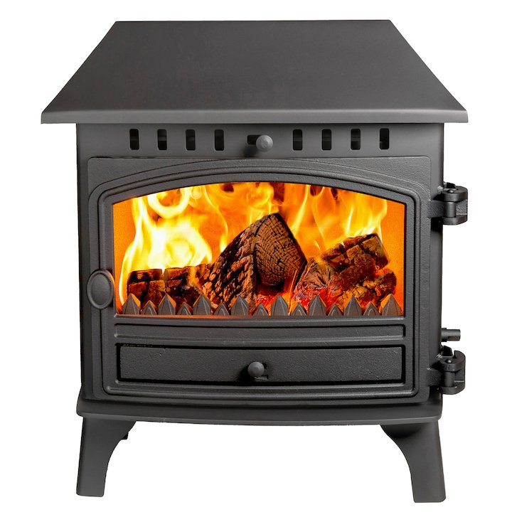 Hunter Herald 8 Double Sided LC Wood Stove - Double Depth Black Single Door - Black