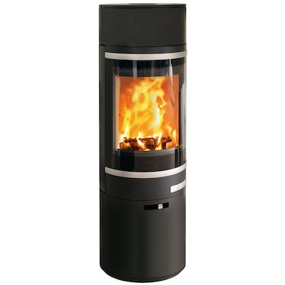 Scan 85 Maxi LH Wood Stove Black Silver Trim