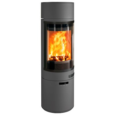 Scan 85 Maxi LH Wood Stove Grey Black Trim