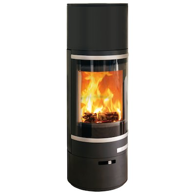 Scan 85 HL Wood Stove Black Silver Trim