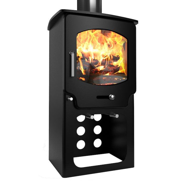 Saltfire ST X4 Tall Logstore Multifuel Stove - Metallic Black