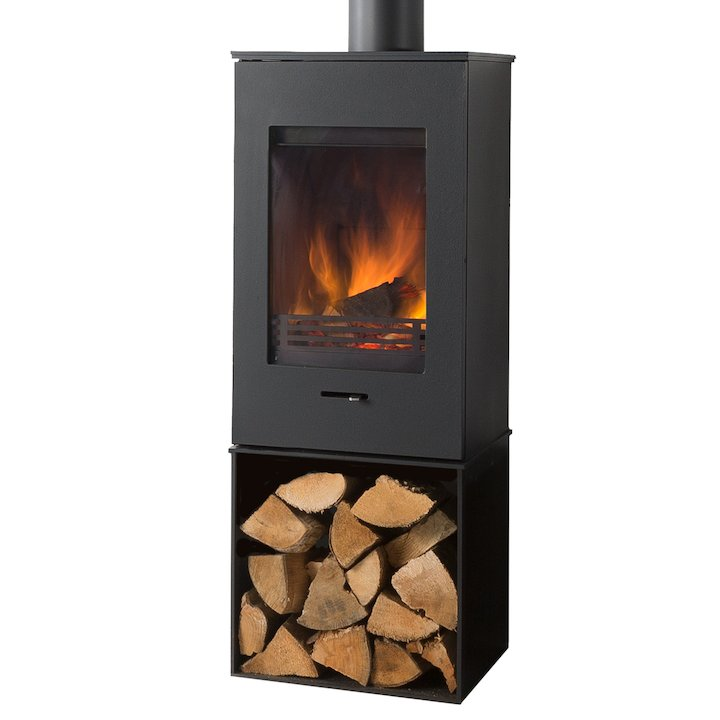 Wanders Elm Tall Logstore Wood Stove - Black