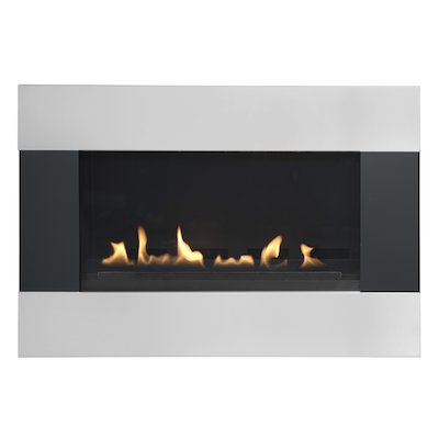Burley Latitude Flueless Wall Mounted Gas Fire Black/Silver LPG