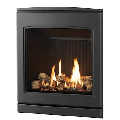 Yeoman CL 530 Conventional Flue Inset Gas Fire Anthracite Black Reeded Vermiculite Lining