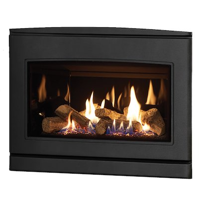 Yeoman CL 670 Conventional Flue Inset Gas Fire Anthracite Black Glass Lining