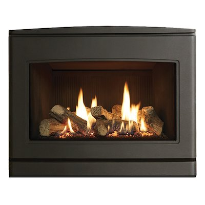 Yeoman CL 670 Conventional Flue Inset Gas Fire Anthracite Black Reeded Vermiculite Lining