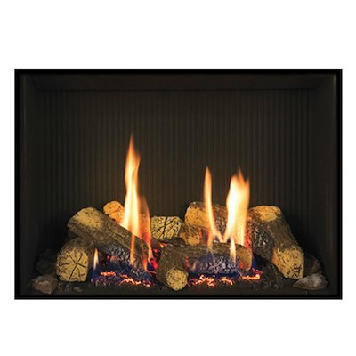 Gazco Riva2 500 Conventional Flue Gas Fire Black Black Reeded Vermiculite Lining