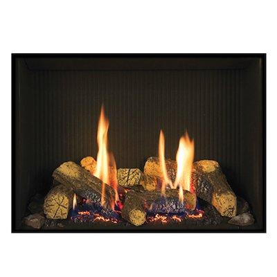 Gazco Riva2 500 Conventional Flue Gas Fire Black Black Reeded Vermiculite Lining