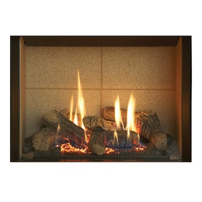 Gazco Riva2 500 Conventional Flue Gas Fire Black Beige Vermiculite Lining