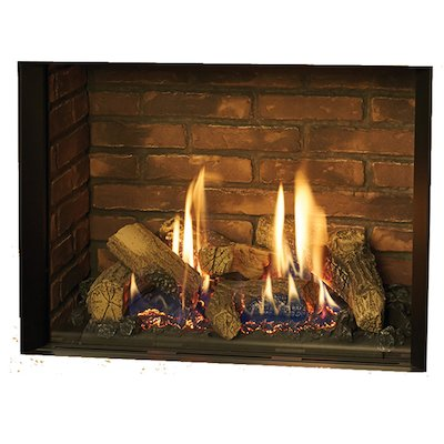 Gazco Riva2 500 Balanced Flue Gas Fire Black Brick Effect Lining