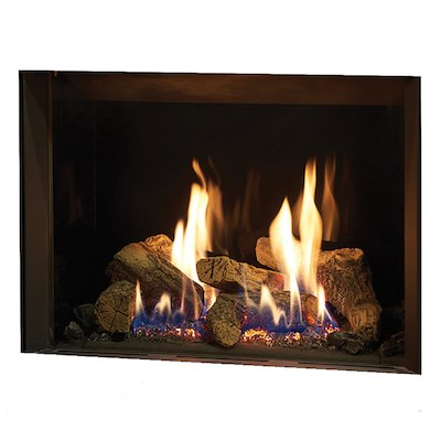 Gazco Riva2 500 Balanced Flue Gas Fire Black Black Glass Lining