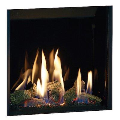 Gazco Riva2 500HL Slimline Balanced Flue Gas Fire Black Black Glass Lining