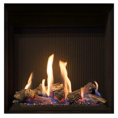 Gazco Riva2 500HL Slimline Balanced Flue Gas Fire Black Black Reeded Vermiculite Lining