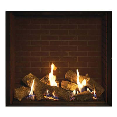 Gazco Riva2 750HL Balanced Flue Gas Fire Black Brick Effect Lining