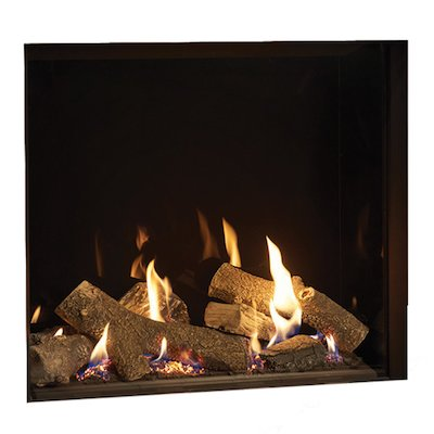Gazco Riva2 750HL Balanced Flue Gas Fire Black Black Glass Lining