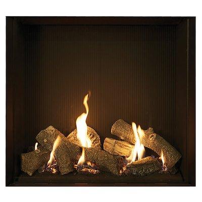 Gazco Riva2 750HL Balanced Flue Gas Fire Black Black Reeded Vermiculite Lining