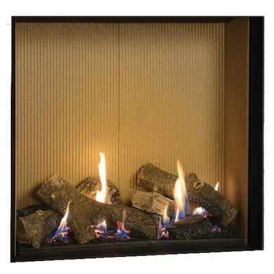 Gazco Riva2 750HL Conventional Flue Gas Fire Black Fluted Vermiculite Lining