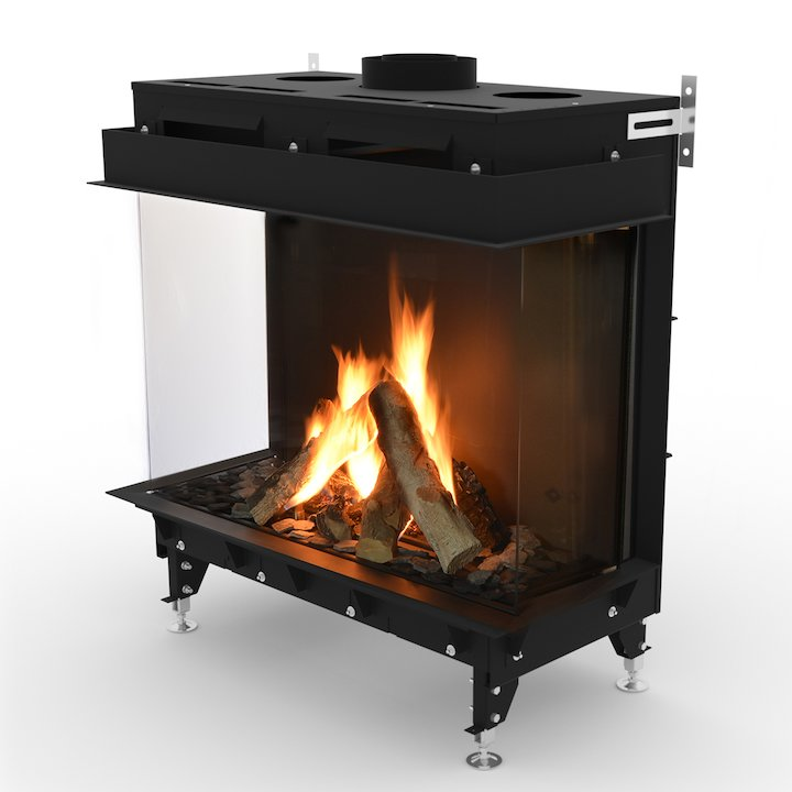 Planika Monroe 900 Balanced Flue Built-In Gas Fire - Three Sided - Black
