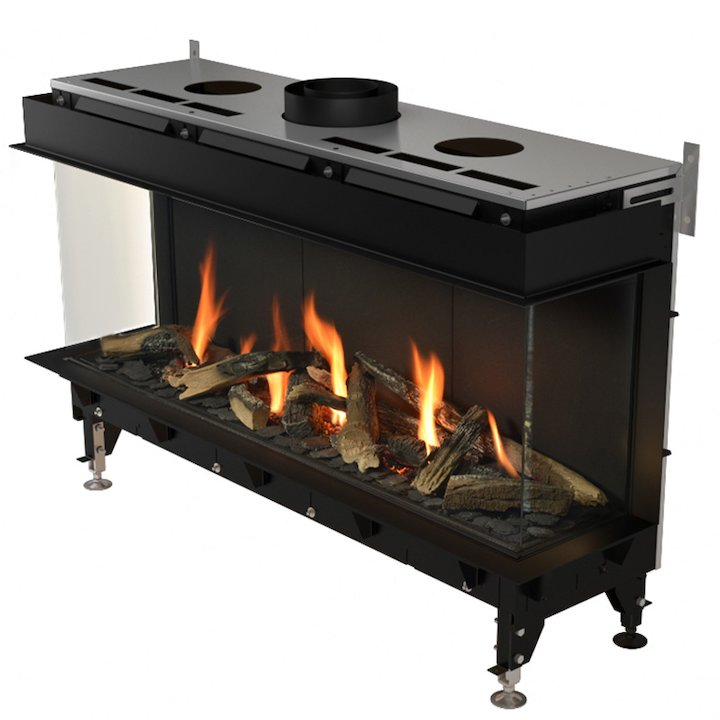 Planika Valentino 1300 Balanced Flue Built-In Gas Fire - Three Sided - Black