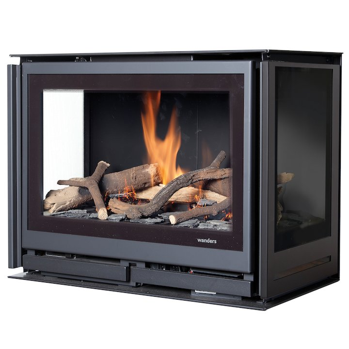 Wanders Square 60G Trilateral Balanced Flue Gas Fire - Three Sided - Black