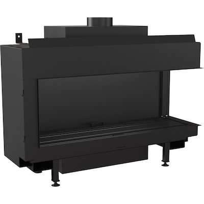 Kratki Leo 100 Conventional Flue Built-In Gas Fire - Corner Black LPG