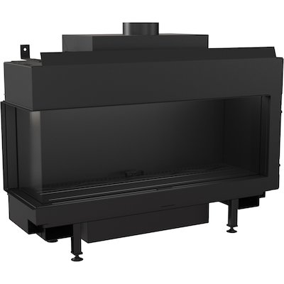 Kratki Leo 100 Conventional Flue Built-In Gas Fire - Corner Black Natural Gas