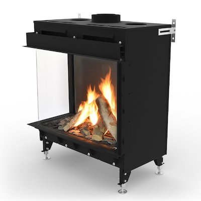 Planika Monroe 900 Balanced Flue Built-In Gas Fire - Corner Black LPG