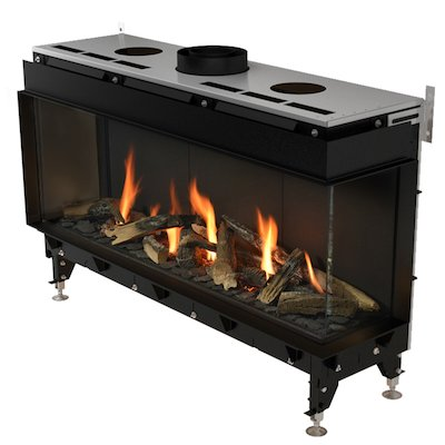 Planika Valentino 1000 Balanced Flue Built-In Gas Fire - Corner Black LPG