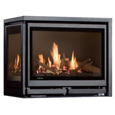 Wanders Square 60G Corner Balanced Flue Gas Fire - Corner Anthracite Left Side Glass
