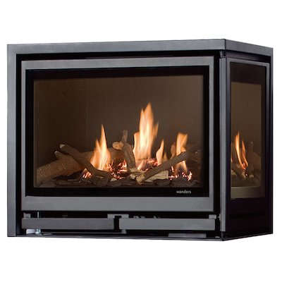 Wanders Square 60G Corner Balanced Flue Gas Fire - Corner Anthracite Right Side Glass