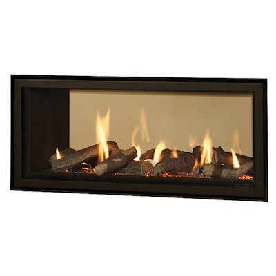Gazco Studio 2 Duplex Balanced Flue Double Sided Gas Fire - Tunnel Black Black Reeded Vermiculite Lining