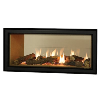 Gazco Studio 2 Duplex Balanced Flue Double Sided Gas Fire - Tunnel Black Beige Vermiculite Lining