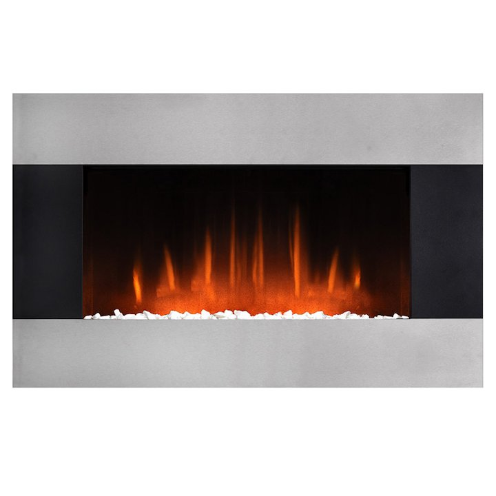 Burley Glaston Wall Mounted Electric Fire - Silver / Black