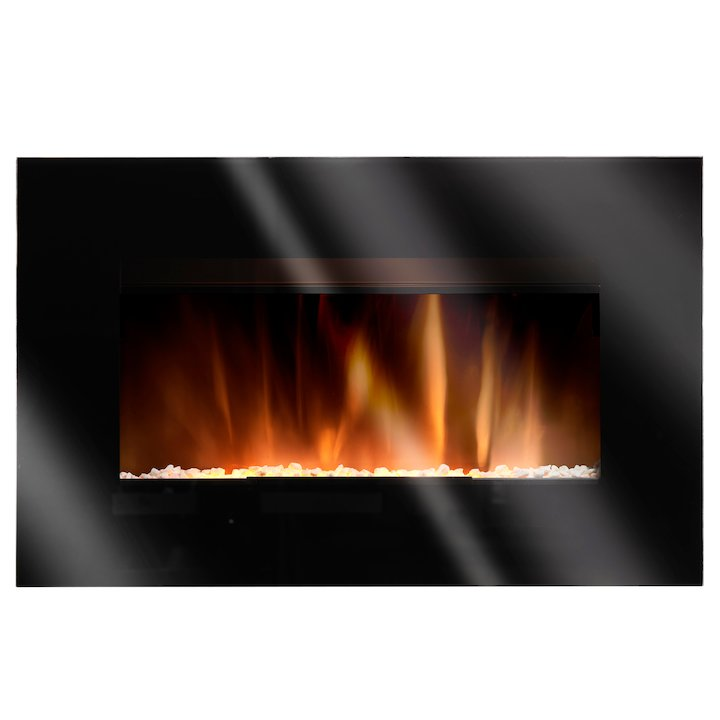 Burley Langham Wall Mounted Electric Fire - Black Glass