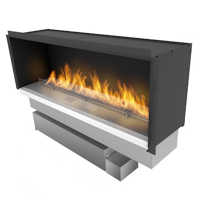 Planika Fireline FLA3/1190 Bio-Ethanol Cassette Fire - Frontal Stainless Steel XL Fuel Tank Version